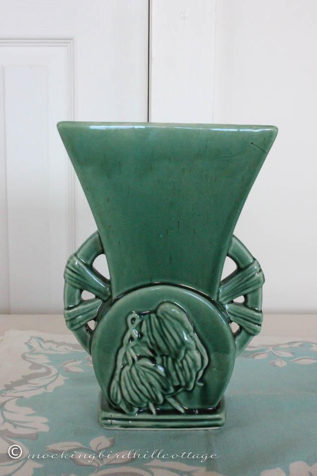 4-25 dark green vase