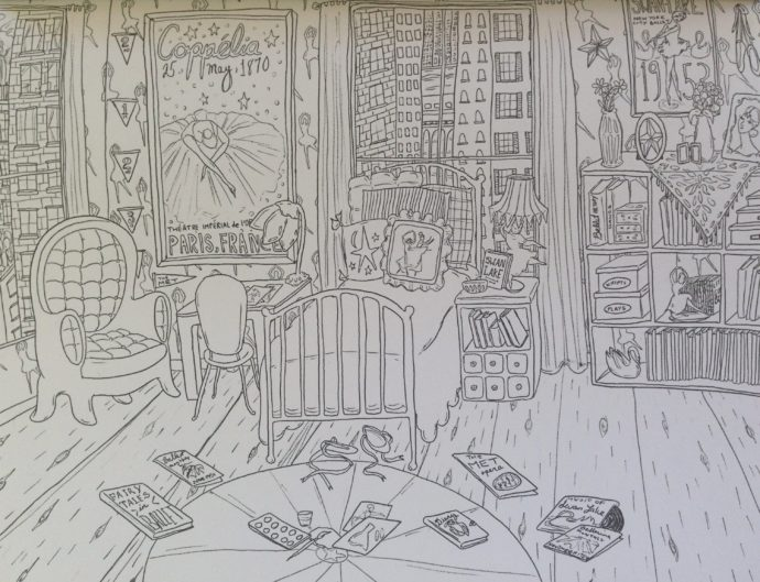 Amanda Laurel Atkins BEDROOM coloring book sample page 11